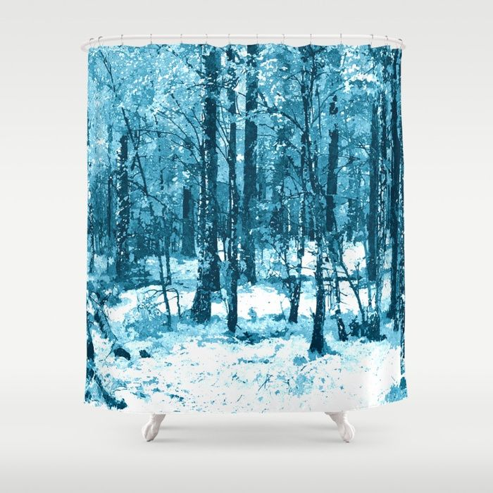 "Is winter coming? Blue enchanted forest, magical nature, beautiful view, calm place, wild nature Customize your #bathroom decor with unique shower #curtains designed by artists around the world. Made from 100% polyester our designer shower curtains are printed in the USA and feature a 12 button-hole top for simple hanging. The easy care material allows for machine wash and dry maintenance. Curtain rod, shower curtain liner and hooks not included. Dimensions are 71x74"" #society6 #shower"