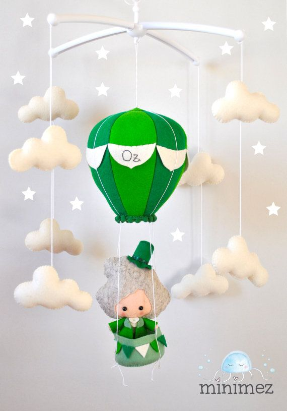 Baby mobile Hot air balloon Wizard of Oz Clouds mobile Boy nursery decor Faitytale baby shower gift Crib hanging mobile 100% eco wool felt