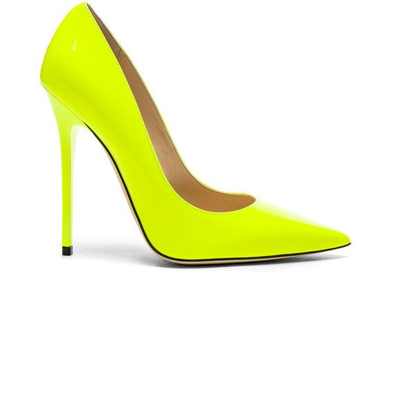 Jimmy Choo Neon Patent Leather Anouk  Heels ($620) ❤ liked on Polyvore featuring shoes, pumps, heels, neon shoes, heel pump, leather sole shoes, high heel shoes and patent leather pumps