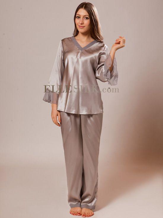 Pretty Silk Satin Pajamas for Women. http://www.ellesilk.com/silk-nightwear-005.html