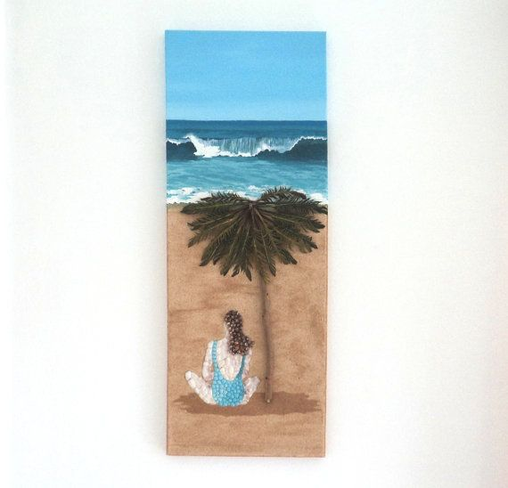 Acrylic Painting, Beach Artwork with Seashells and Sand, Girl on Beach in Seashell Mosaic on Sand, Mosaic Art, 3D Art Collage, Home Decor, Wall Decor #ArtworkwithSeashells #mosaiccollage #seashellmosaic #homedecor #walldecor #3D