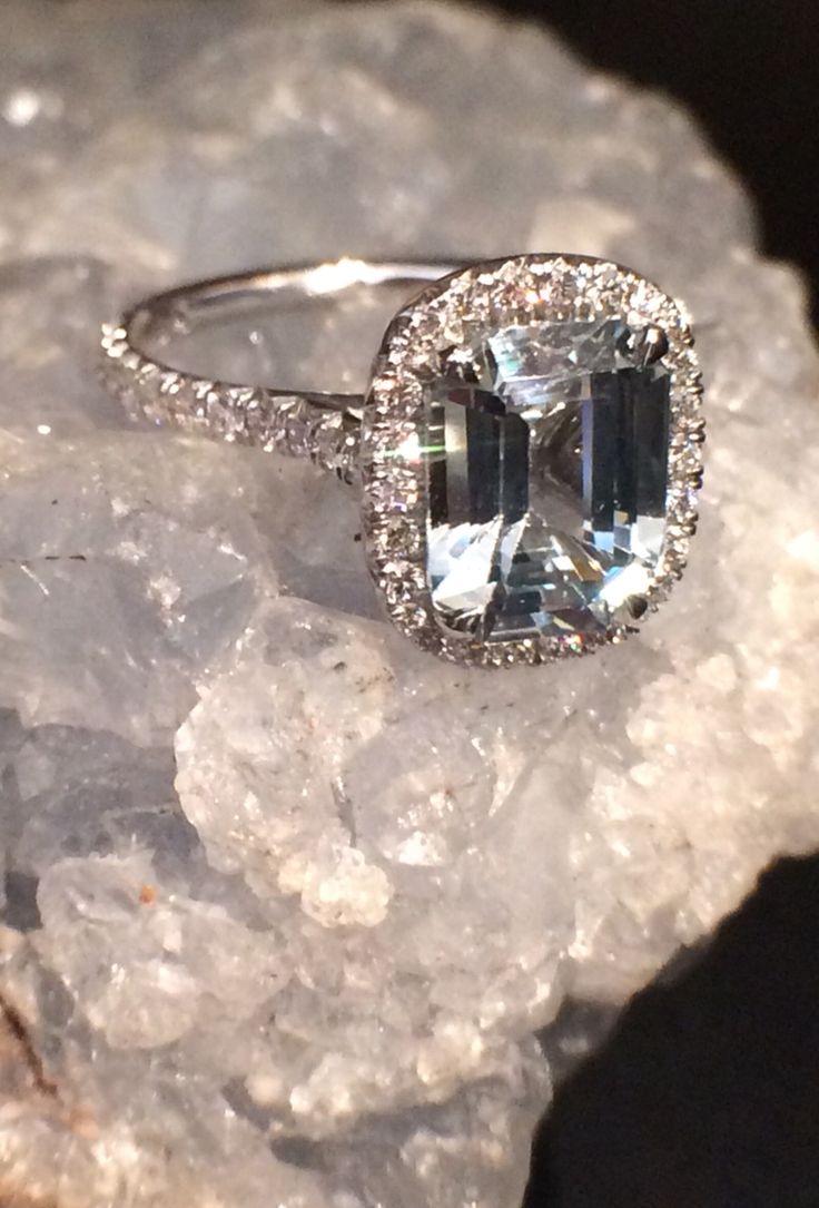 Ice Blue Emerald Cut Sapphire Engagement Ring With Diamond Halo  Sohogem