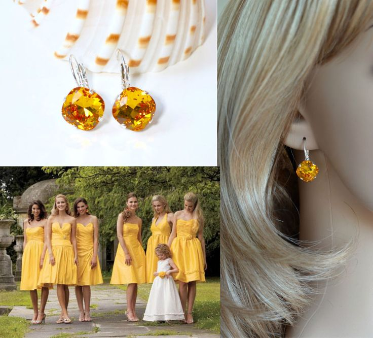 Deep Yellow Swarovski Sunflower Crystal Leverback Earrings (Sparkle-2626-SF)…