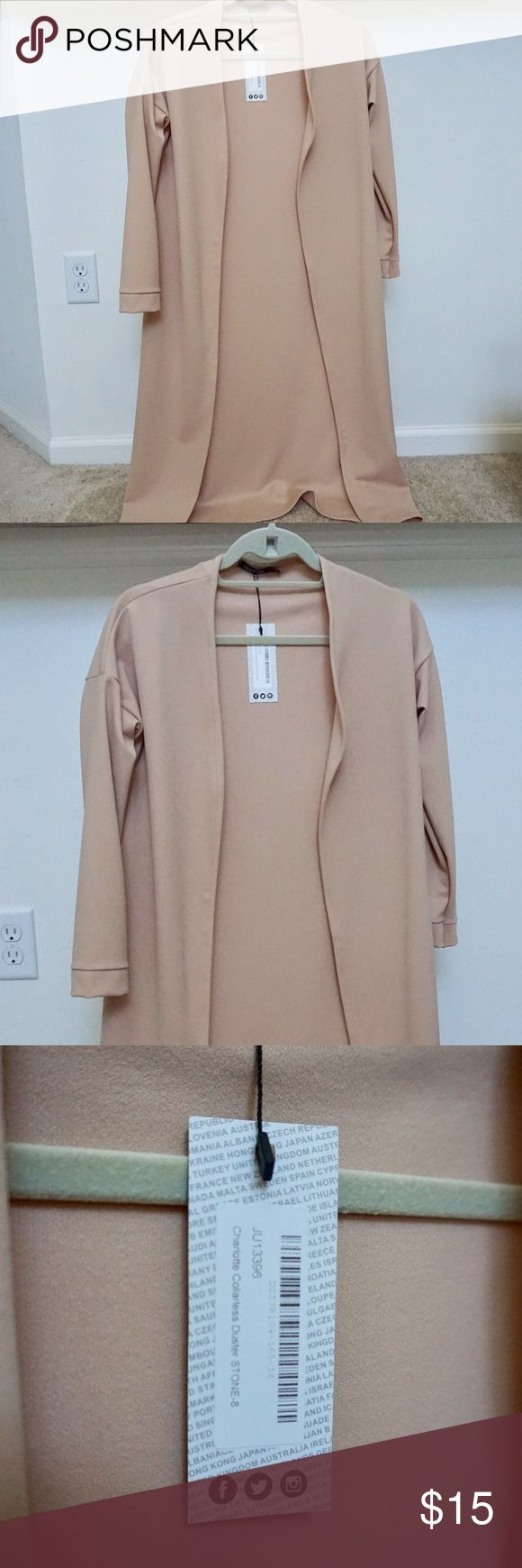 Boohoo Duster Collarless Cardigan Boohoo draped collarless cardigan in nude / Stretchy material / New with tags Boohoo Sweaters Cardigans