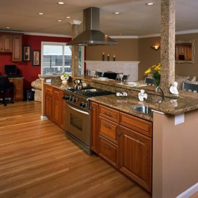 Island with built in range kitchens dezine pinterest for Bj kitchen cabinets