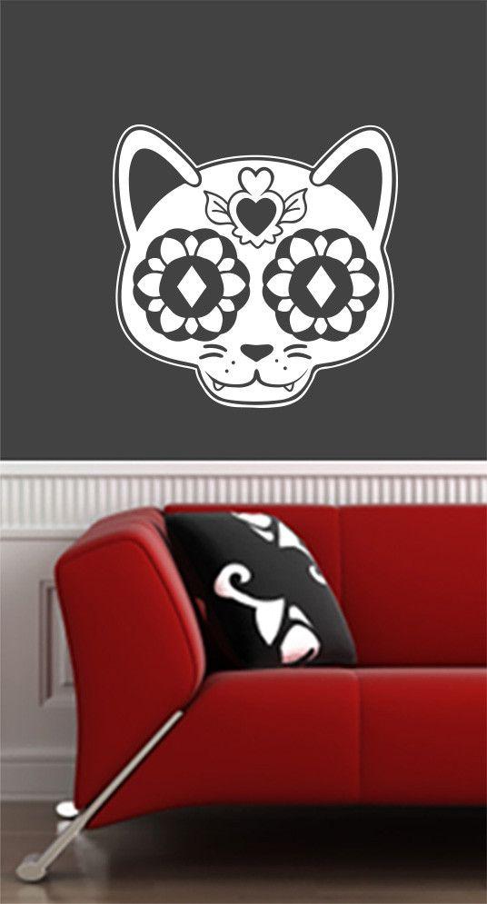 WALL - Sugar Skull Cat - Day of the Dead - Día de los Muertos - Wall Vinyl Decal -/ 2016 YYDC (Size and Color Choices)