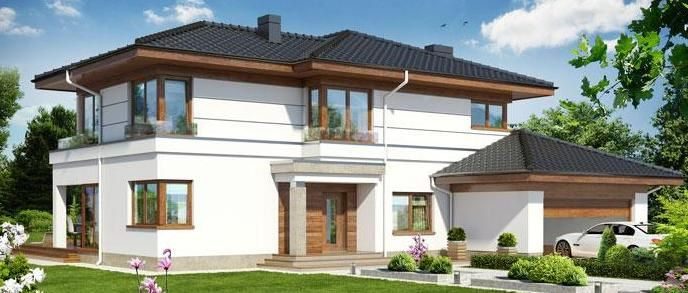 Villa con tetto a 4 falde villa costruzione tetto for Progetti di ville