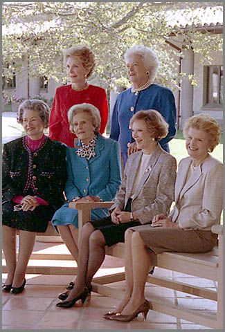 Six First Ladies. Seated L to R: Lady Bird Johnson, Pat Nixon, Rosalynn Carter, and Betty Ford.  Standing: Nancy Reagan and Barbara Bush. Via George H. Bush Presidential Library.