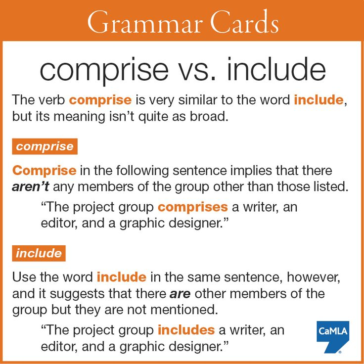 """""""comprise"""" vs. """"include"""": how to use them correctly"""