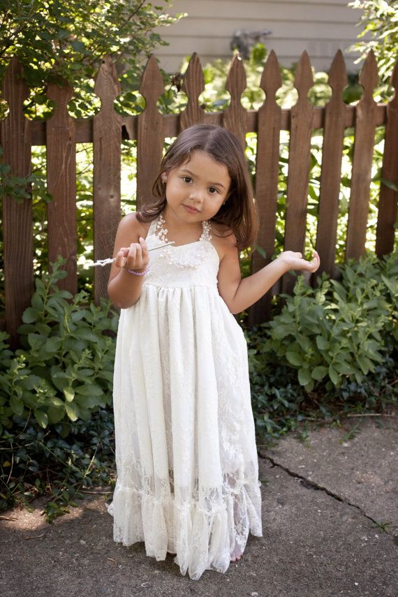 Little girl's sweet lace maxi dress!  For a #flowergirl, parties, outdoor photos!  Perfect for rustic #weddings, destination weddings and beach weddings too! Beautiful!  #kidsfashion