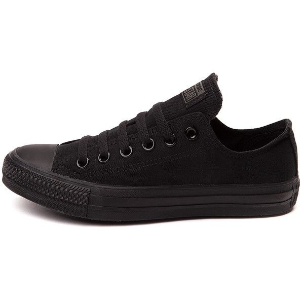 Converse Chuck Taylor All Star Lo Mono Sneaker ($99) ❤ liked on Polyvore featuring shoes, sneakers, black trainers, converse sneakers, long shoes, kohl shoes and black sneakers