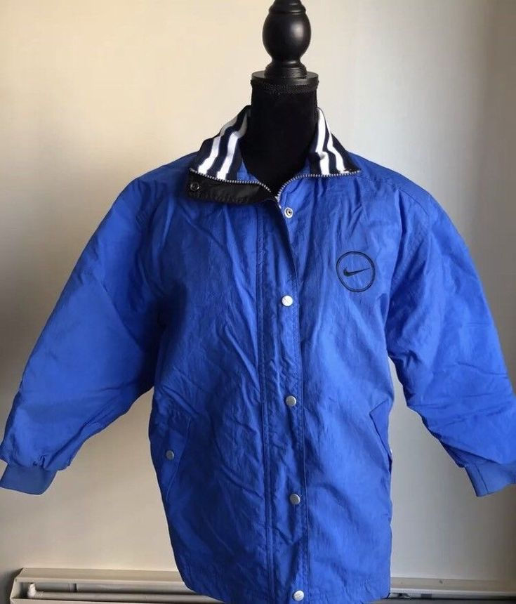 Vintage Kids Nike Coat Size 10-12 Blue  | eBay
