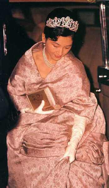 Empress Michiko of Japan ... #tiara looks like the one princess Masako wore with her wedding but with pink stones or it's due to hue in the photo (?) #RoyalTiara