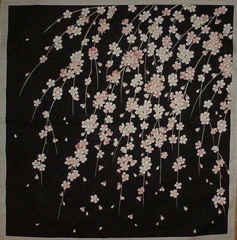 Japanischer Kirschblütenbaum Stoff Sakura Furoshiki 'Weeping Cherry Tree' Schwarzer japanischer Baumwollstoff 50cm mit kostenlosem versichertem Versand   – Schulfrei