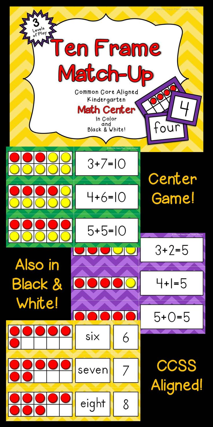 Print, laminate, and go! Common Core Aligned Kindergarten Math Center! Children Match Ten Frames to numerals, number words, and equations in three levels of play. Great for a pocket chart center. $
