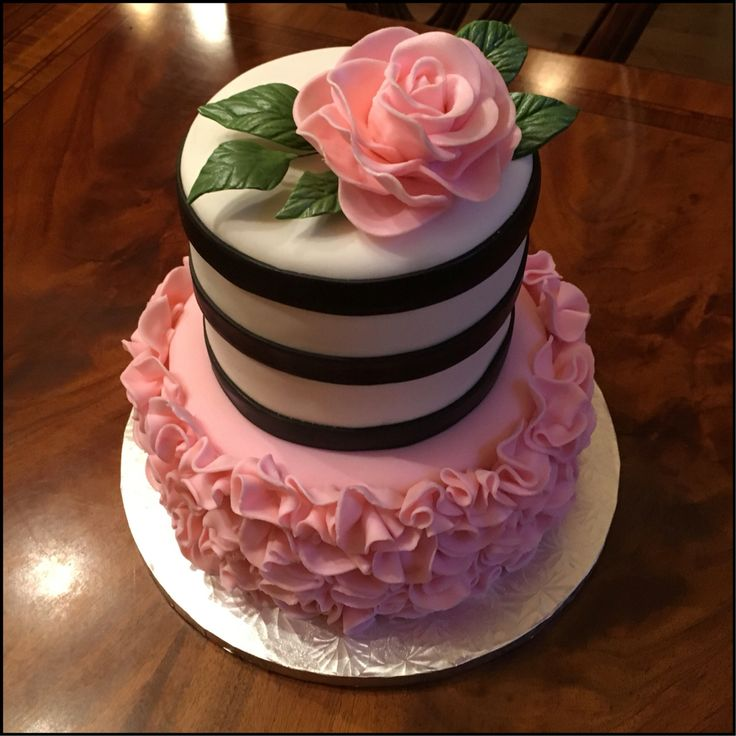 Frilly Pink And Black And White Stripe Pretty Birthday