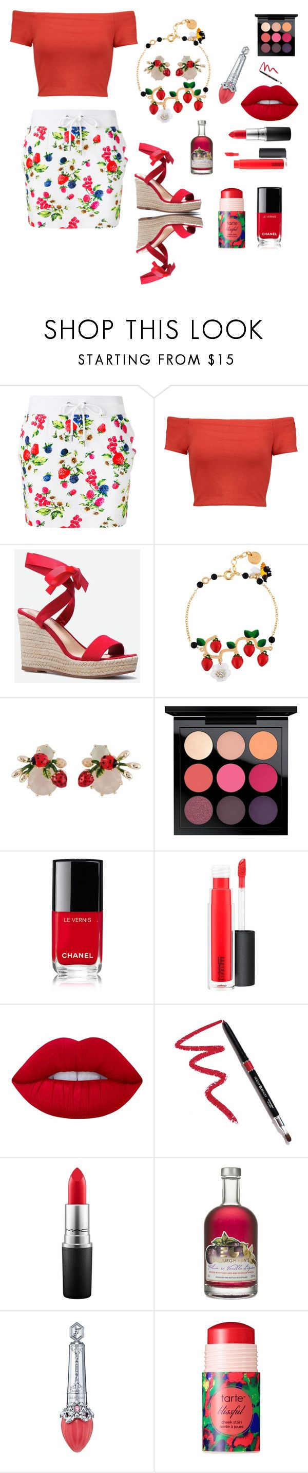"""The Berries!!"" by siriusfunbysheila1954 ❤ liked on Polyvore featuring Love Moschino, Alice + Olivia, JustFab, Les Néréides, MAC Cosmetics, Chanel, Lime Crime, Dollup Beauty, Morgan Lane and tarte"