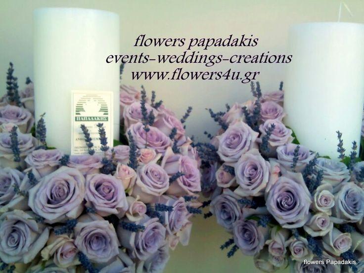 Λαμπάδες γάμου με τριαντάφυλλα και λεβάντες by flowers papadakis