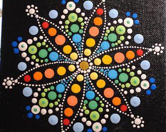 "6"" x 6"" Daisy Mandala on Canvas Board"