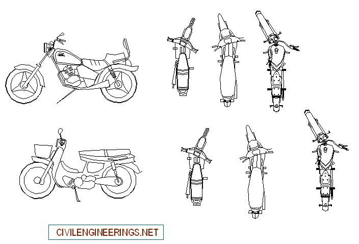Download motorbikes cad block, Free download house drawing
