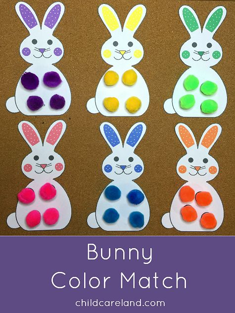 Bunny Color Match For Preschool Fine Motor Skills Recognition And Beginning Math Practice Spring Easter Toddler Activities