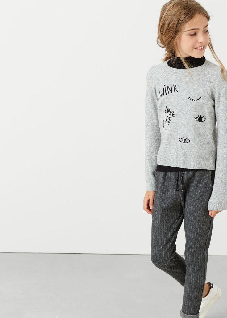 Embroidered wool sweater | MANGO KIDS