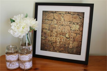 Custom-made family scrabble wall art - Personalised gift for Mother's Day