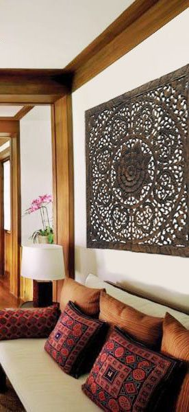"Elegant Wood Carved Wall Plaque. Wood Carved Floral Wall Art. Asian Home Decor Wall Art Panels. Baliness Home Decor. 48"" Square Dark Brown"