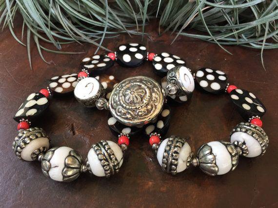 Batik Bone Conch Shell Triple Stretch by JewelrybyKellyWalker
