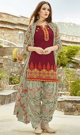 Maroon Color Embroidered Cotton Patiala Suit  #punjabisalwarsuit #punjabifrocksuitsonline Vogue and trend could be on peak of your splendor after you attire this maroon color embroidered cotton Patiala suit. The wonderful dress creates a dramatic canvas with unbelievable lace, stones and resham work.  USD $ 81 (Around £ 56 & Euro 62)