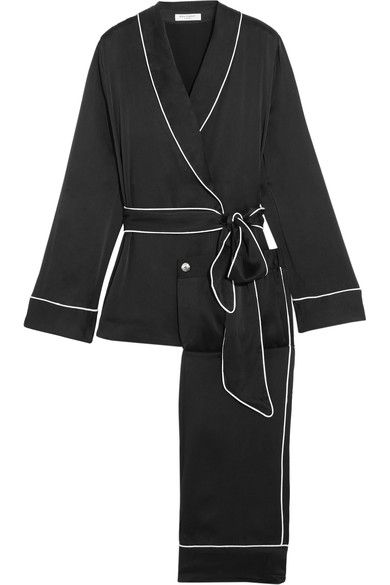 Equipment - Odette Washed-silk Pajama Set - Black -