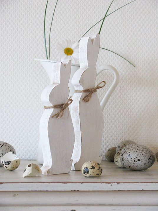 <3 white wooden Easter rabbits