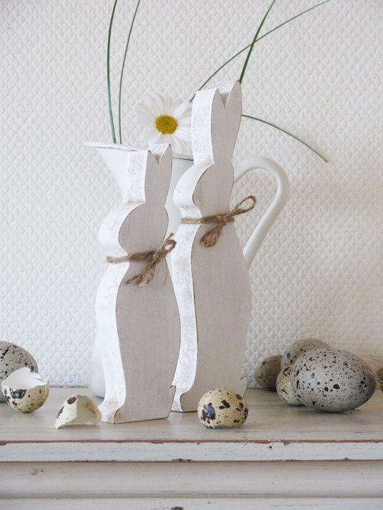 <3 white wooden Easter rabbits