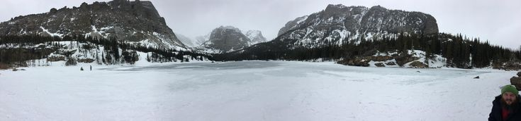 Hiked for three hours in the 10 degree snow to this beautiful frozen lake. Loch Vale Rocky Mountain National Park CO. #hiking #camping #outdoors #nature #travel #backpacking #adventure #marmot #outdoor #mountains #photography
