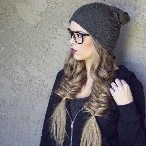Double fishtail braids, beanie