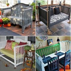 Recycle your outgrown baby cribs into something new for home and garden decoration #Repurpose, #furniture, #crib