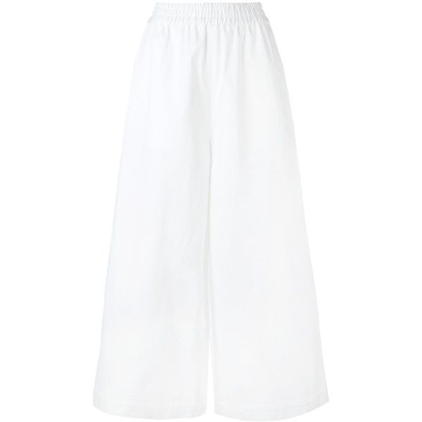Ports 1961 wide leg trousers (220.200 HUF) via Polyvore featuring pants, white, white wide leg pants, wide leg cotton pants, white wide leg trousers, cotton trousers and wide leg pants