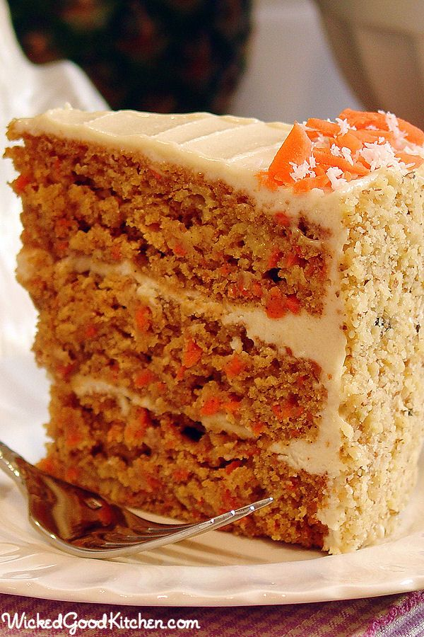 Paleo Carrot Cake with Cashew-Coconut Buttercream by WickedGoodKitchen.com