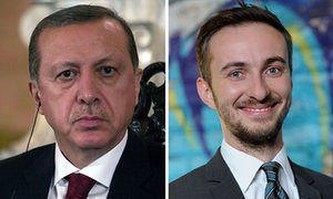 Turkish president Recep Tayyip Erdoğan (left) and comedian Jan Böhmermann