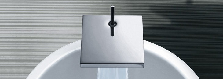 Axor Starck X bathroom faucet. The geometric, purist forms give new dimensions to the element of water; dimensions of freshness, clarity, and exclusivity.