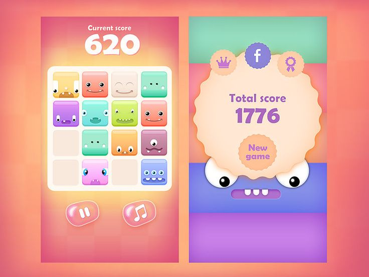 2048 Cute Monsters - Mobile game GUI and graphics, Rafał Urbański on ArtStation at https://www.artstation.com/artwork/2048-cute-monsters-mobile-game-gui-and-graphics