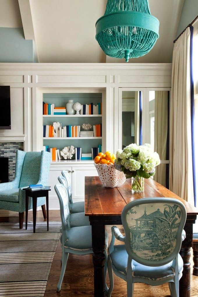 vibrant long narrow dining table. A bright and colorful family home was designed by Tobi Fairley Interior  Design in conjunction with Yeary Lindsey Architects sited Little Rock Arkansas 36 best Dining Room Decorating images on Pinterest room