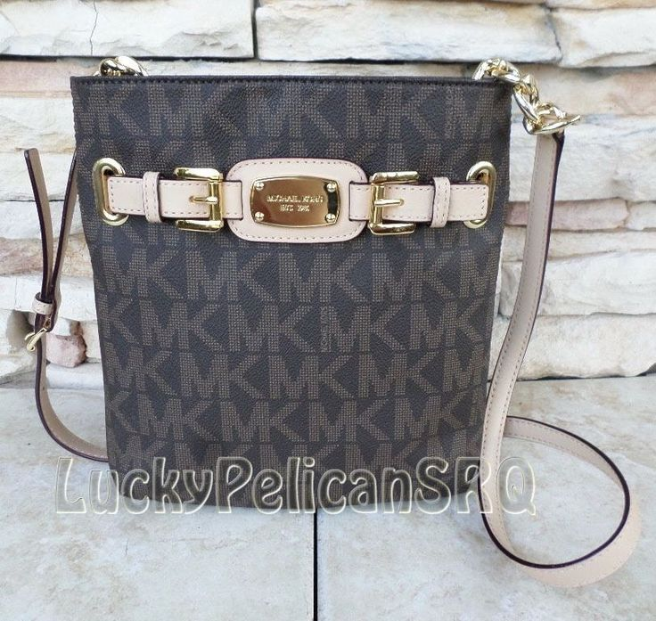 MICHAEL KORS Hamilton Brown Monogram Large Crossbody Messenger Bag PVC NWT #MichaelKors #CrossBody
