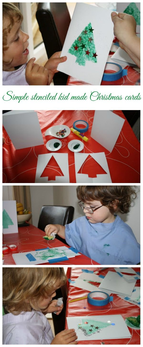 Simple stenciled kid made christmas cards - these festive cards are so easy for children to make from Mum in the Mad House