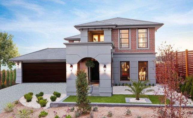 Simonds Homes: Oxford - St. Ives Facade. Visit www.allmelbournebuilders.com.au for all display homes and building options in Victoria