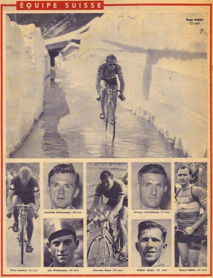 Tour de France 1951. L'équipe della Svizzera, con Hugo Koblet (1925-1964), qui in una foto d'archivio (Giro di Romandia 1949?), Hans Sommer (1924-2004), Gottfried Weilenmann (1920), Giovanni Rossi (1926-1983), Georges Aeschlimann (1920-2010), Marcel Huber (1927), Leo Weilenmann (1922-1999), Walter Reiser (1923) [But et CLUB] (www.cyclingpassions.eu)