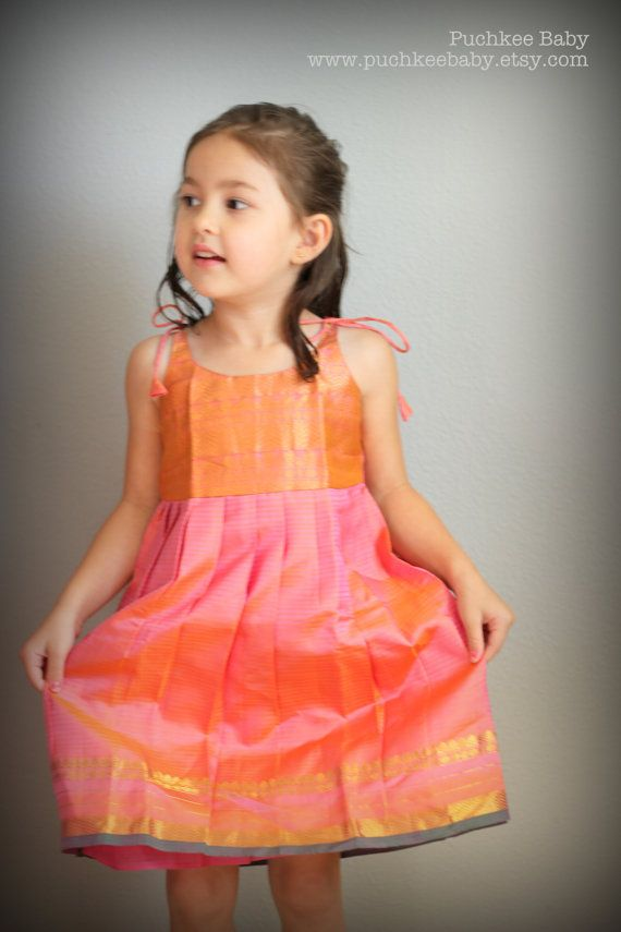 Pretty Toddler Girl Coral Pink Silk Dress by PuchkeeBaby. www.etsy.com/puchkeebaby
