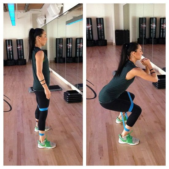 2. Lateral Squat With Band: Works: Glutes, Quads, And