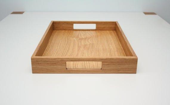 Wooden Serving Tray Oak Wood Tray In 2020 Wooden Serving Trays Wood Tray Serving Tray