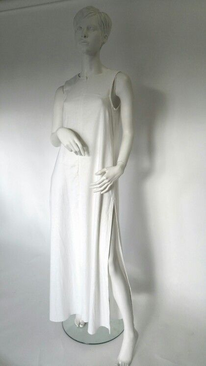 Peace Lily ivory sleeveless linen dress with side slits